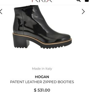 Hogan black patent leather ankle booties